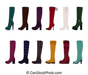 fondo, donne, stivali, illustrazione, set, vettore, bianco