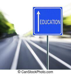 fondo., educazione, veloce, segno strada
