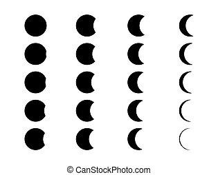 fondo, fasi, segno, isolato, bianco, nero, set., luna, mezzaluna, icona