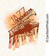 fondo, festival, musica jazz, sagoma, tromba