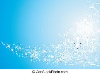 fondo, festivo, astratto, neve, stelle, baluginante, flakes.