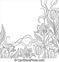 fondo, fiore, tulips, contorno
