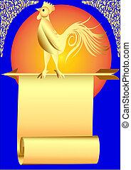 fondo, gallo, mattina, freccia, sedere