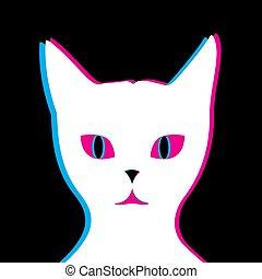 fondo, gatto, glitch, bianco, nero