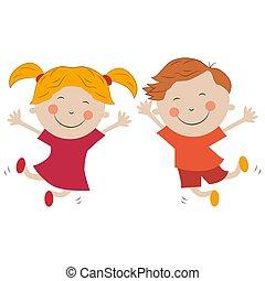 fondo, gioia, saltare, ragazzo, bianco, isolato, ragazza