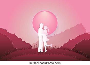 fondo, giovane, arte, carta, rosa, stile, valentina, ragazza, standing, montagna, mestiere, illustrazione, uomo