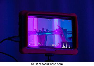 fondo, hands., femmina, tocco, lights., contro, neon, strumento, chiavi, dita, vento, chiudere, mostra, cinepresa, luminoso, su., flauto