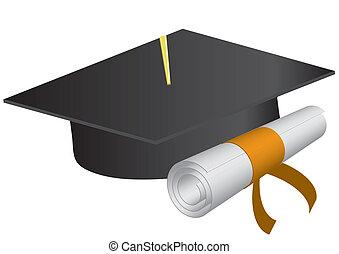 fondo., illustrazione, berretto, vettore, graduazione, diploma, bianco