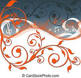 fondo, illustrazione, musica, vettore, flowers., note