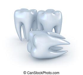 fondo., immagine, 3d, denti bianchi