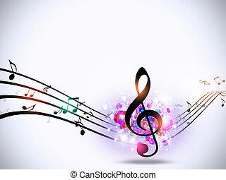 fondo, impaurito, note musica, luminoso