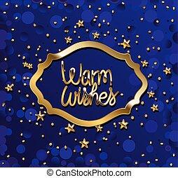 fondo, iscrizione, auguri, oro, viola, riscaldare, stelle