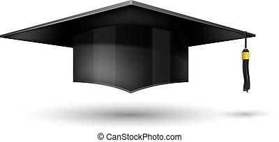 fondo, isolato, berretto, bianco, graduazione
