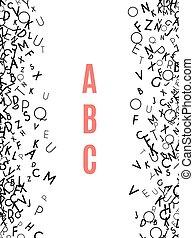 fondo, isolato, cornice, bianco, alfabeto