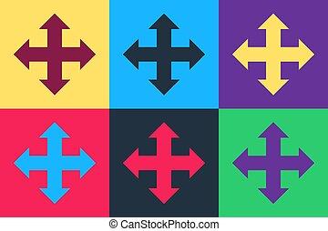 fondo., isolato, frecce, icona, pop, quattro, indicazione, arte, vettore, colorare