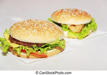fondo, isolato, saporito, hamburger, bianco