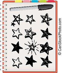 fondo, isolato, stella, quaderno, forme, bianco, molti