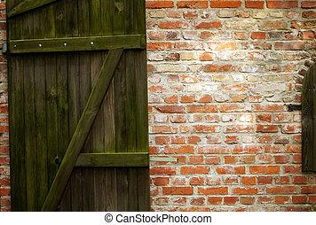 fondo, legno, cancello