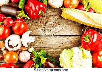 fondo, legno, verdura, organico, sano