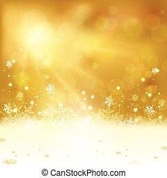 fondo, luci, natale, dorato, fiocchi neve