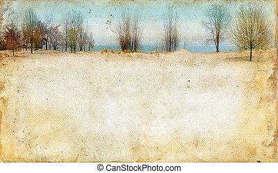 fondo, lungo, grunge, lago, albero