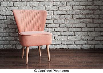 fondo, mattone, sedia, parete bianca, rosa