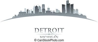 fondo, michigan, orizzonte, città, detroit, silhouette, bianco