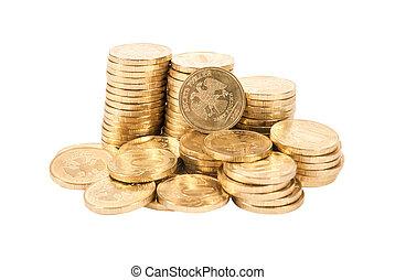 fondo, monete, isolato, mucchio, russo, bianco