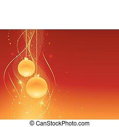 fondo, natale, festivo, dorato, rosso
