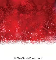 fondo, natale, stelle, fiocchi neve, rosso