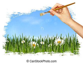 fondo, natura, illustrazione, mano, vettore, presa a terra, brush.