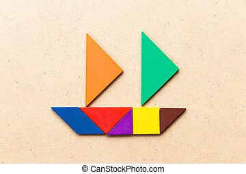 fondo, navigazione, o, barca, affari, entrepreneur), legno, forma, (concept, inizio, tangram, colorare, su