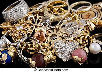 fondo, nero, gioielleria, oro