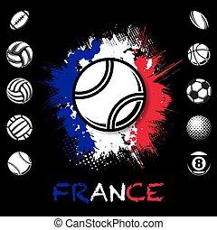 fondo, nero, palle, francia, sport