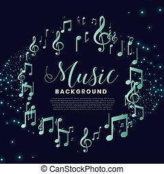 fondo, note, cornice, musica, bello