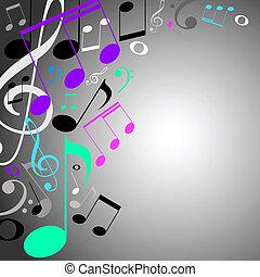 fondo., note, musicale