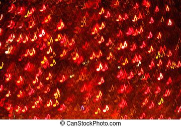 fondo, note, sfocamento, rosso, bokeh, luci, musica