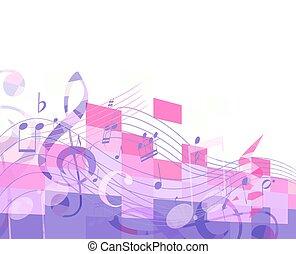 fondo, note, viola, astratto, chiave, segni, musicale
