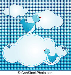 fondo, nubi, carino, uccelli