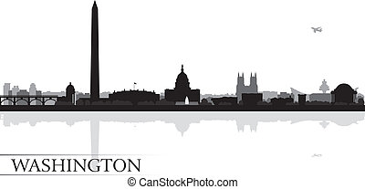 fondo, orizzonte, città, washington disegnano