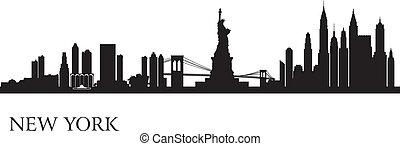 fondo, orizzonte, città, york, nuovo, silhouette