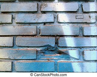 fondo, parete, mattone