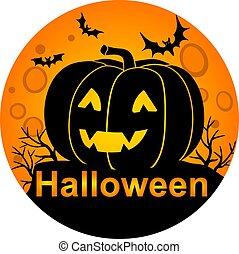 fondo, pieno, colore arancia, illustration., luna, halloween, pauroso, zucca, casato, face., bats., cricco, -, lanterna