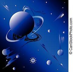 fondo, planetario, fantastico, motivo, cielo