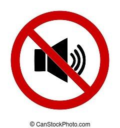 fondo., prohibits, bianco, vettore, segno, forte, illustrazione, suono