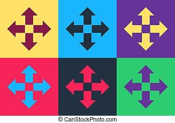 fondo., quattro, arte, vettore, frecce, icona, indicazione, isolato, pop, colorare