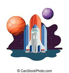 fondo, razzo, volare, sistema, solare, pianeti