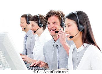 fondo, ritratto, centro, contro, lavorativo, chiamata, agenti, cliente, bianco, charismatic, servizio