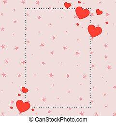 fondo, rosa, rosso, cuori, stelle