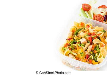 fondo, sano, bianco, scatola, pronto, pranzo, cibo, mangiare